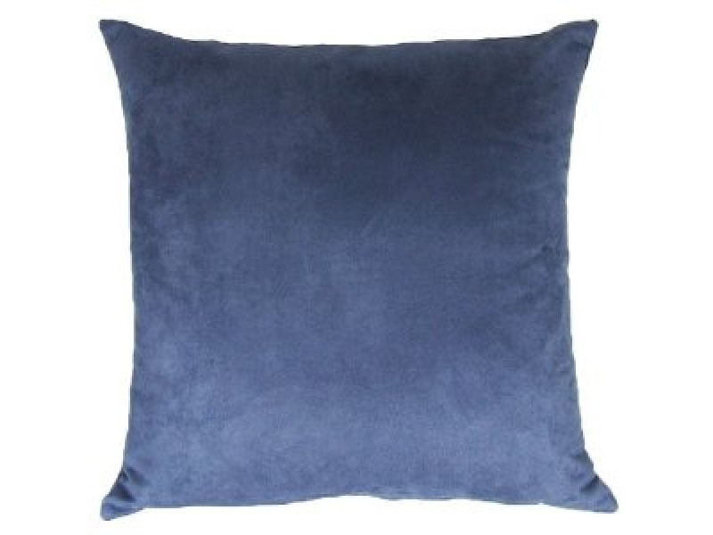 Blue Denim Colour Faux Suede Cushion - 45cm x 45cm - COMPLETE WITH HOLLOW FIBRE FILLED INNER