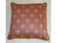 Purple Fleur De Lys Cushion - 39cm x 39cm - COMPLETE WITH HOLLOW FIBRE FILLED INNER