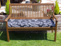 Garden Bench Cushion - Black Leaf