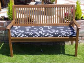 Garden Bench Cushion - Black Leaf