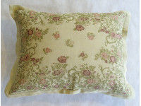 Beige Embroidered Oblong Cushion - 62cm x 48cm - COMPLETE WITH HOLLOW FIBRE INNER