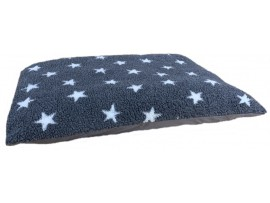 Fleece Dog Bed Cushion With Waterproof Base - Grey with White Stars