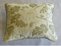 Cream And Green Oblong Cushion With Cording - 46cm x 38cm - COMPLETE WITH HOLLOW FIBRE INNER