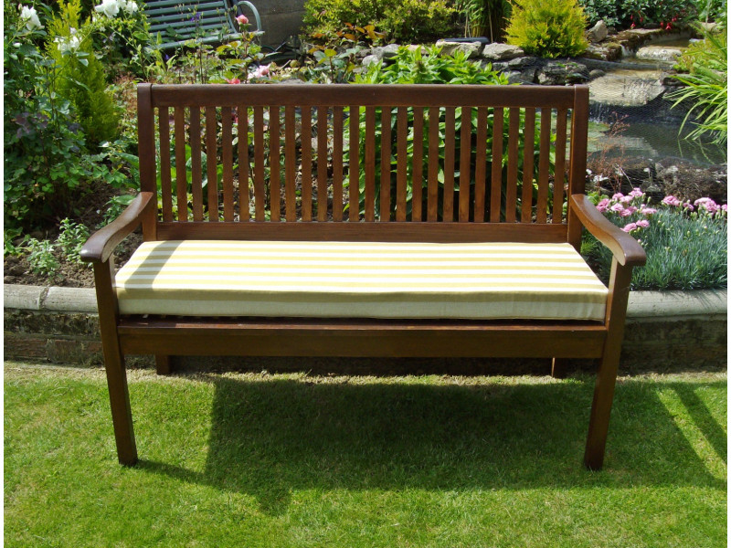 Garden Bench Cushion - Light Brown Stripe