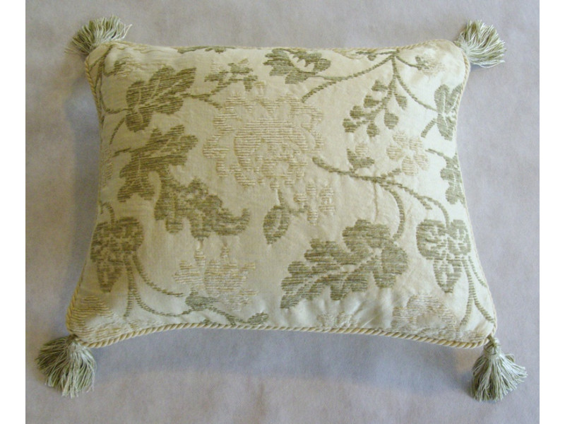 Cream And Green Oblong Cushion With Tassles And Cording - 46cm x 38cm - COMPLETE WITH HOLLOW FIBRE INNER
