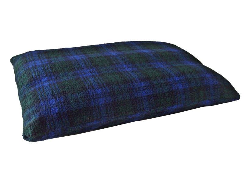 Blackwatch Tartan - Sherpa Fleece Dog Bed Cushion