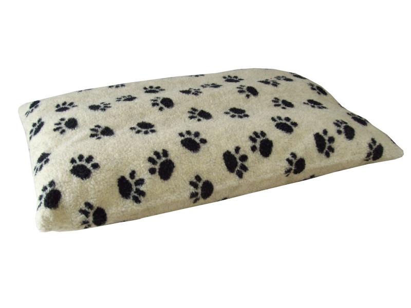 Cream Pawprints - Sherpa Fleece Dog Bed Cushion