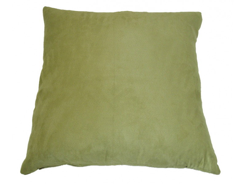 Apple Green Faux Suede Cushion (Large 65cm x 65cm) - COMPLETE WITH HOLLOW FIBRE FILLED INNER