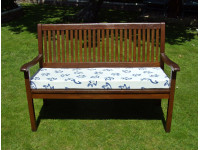 Garden Bench Cushion - Cream with Blue Leaves