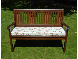 Garden Bench Cushion - Cream with Terracotta Leaves