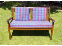 Garden Bench Cushion Set Including Back Pads - Purple Tartan
