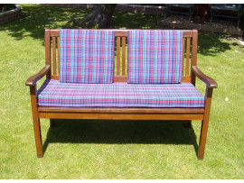 Garden Bench Cushion Set Including Back Pads - Purple Tartan