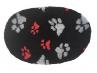 PnH Veterinary Bedding - NON SLIP - Oval - Black with Grey and Red Paws