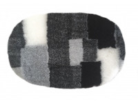 PnH Veterinary Bedding - NON SLIP - OVAL - Grey, Black & White Patchwork