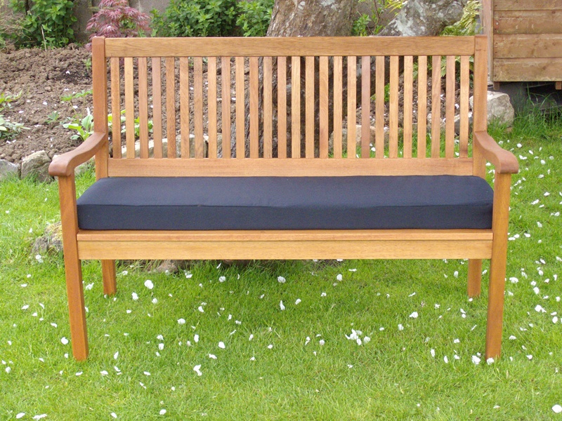 Garden Bench Cushion - Black Faux Suede