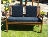 Garden Bench Cushion Set Including Back Pads - Black Cord