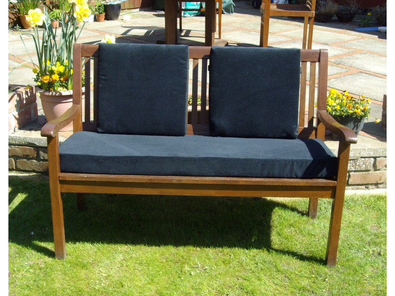Garden Bench Cushion Set Including Back Pads - Black Cord