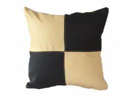 Real Leather Scatter Cushion - Small 37cm x 37cm - Black and Cream - COMPLETE WITH HOLLOW FIBRE FILLED INNER