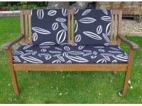 Garden Bench Cushion Set Including Back Pads - Black Leaf