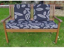 Garden Bench Cushion Set Including Back Pads - Black Leaf