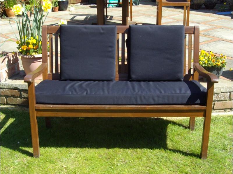 Garden Bench Cushion Set Including Back Pads - Black SHOWERPROOF