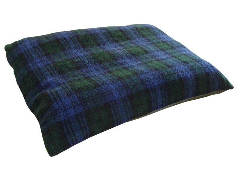 Fleece Dog Bed Cushion With Waterproof Base - Blackwatch Tartan