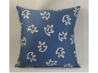 Blue & Cream Leaves Design Cushion - Large 65cm x 65cm - COMPLETE WITH HOLLOW FIBRE FILLED INNER