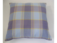 Purple Check Cushion - 45cm x 45cm - COMPLETE WITH HOLLOW FIBRE FILLED INNER