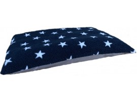 Fleece Dog Bed Cushion With Waterproof Base - Midnight Blue with White Stars