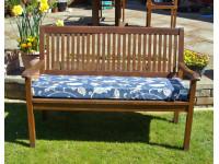 Garden Bench Cushion - Blue Multi Leaf