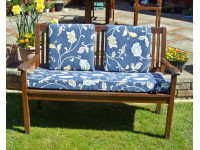 Garden Bench Cushion Set Including Back Pads - Blue Multi Leaf