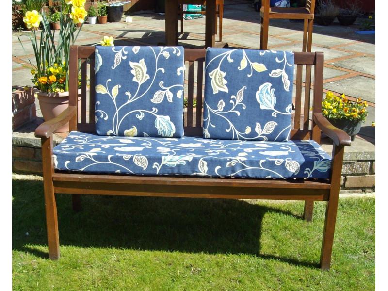 Garden Bench Cushion Set Including Back Pads - Blue Multi Leaf