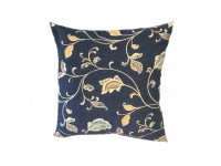 Blue Multi Leaf Scatter Cushion - 45cm x 45cm. COMPLETE WITH HOLLOW FIBRE FILLED INNER