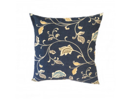 Blue Multi Leaf Cushion (Large 65cm x 65cm) - COMPLETE WITH HOLLOW FIBRE FILLED INNER