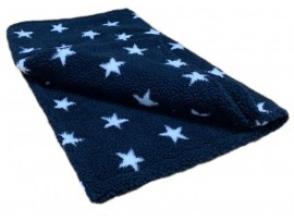 Blue with White Stars - Sherpa Fleece Dog Blanket  DOUBLE LAYERS FOR EXTRA COMFORT
