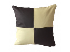 Real Leather Scatter Cushion - Small 37cm x 37cm - Brown and Cream - COMPLETE WITH HOLLOW FIBRE FILLED INNER