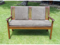 Garden Bench Cushion Set Including Back Pads - Brown Faux Suede