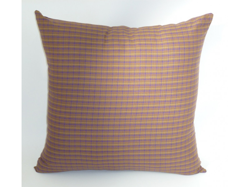 Brown Tartan Design Cushion - (Large 65cm x 65cm) - COMPLETE WITH HOLLOW FIBRE FILLED INNER