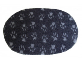 PnH Veterinary Bedding - NON SLIP - OVAL - Charcoal With Grey Paws