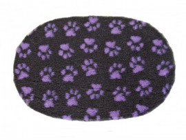 PnH Veterinary Bedding - NON SLIP - OVAL - Charcoal With Lilac Paws
