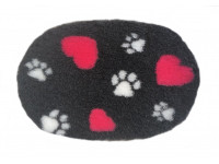 PnH Veterinary Bedding - NON SLIP - Oval - Charcoal with Pink Hearts