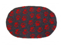 PnH Veterinary Bedding - NON SLIP - OVAL - Charcoal With Red Paws