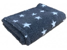 Grey with White Stars - Sherpa Fleece Dog Blanket  DOUBLE LAYERS FOR EXTRA COMFORT