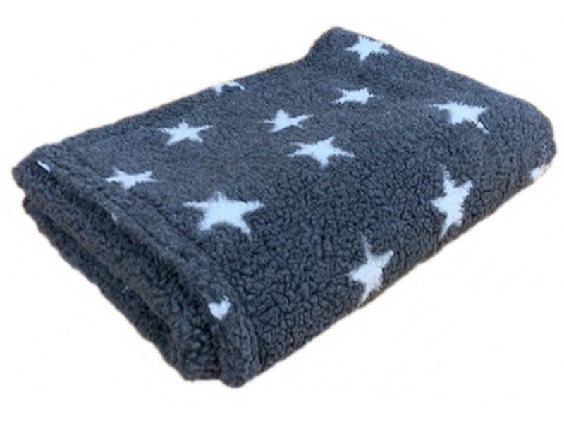 Deluxe Sherpa Fleece Lap Blanket - DOUBLE LAYERED - Grey with White Stars