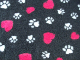 PnH Veterinary Bedding - NON SLIP - EXTRA LARGE RECTANGLE 150cm x 100cm - Charcoal with Pink Hearts
