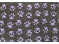 PnH Veterinary Bedding - NON SLIP - EXTRA LARGE RECTANGLE 150cm x 100cm - Charcoal with Lilac Paws