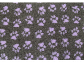 PnH Veterinary Bedding - NON SLIP - RECTANGLE - Charcoal with Lilac Paws