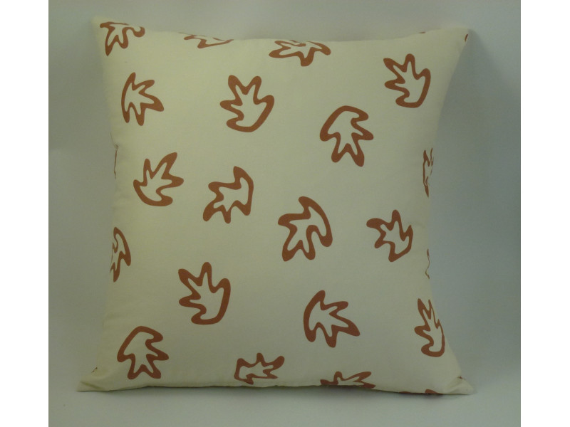 Cream & Rust Leaves design Cushion - Large 65cm x 65cm - COMPLETE WITH HOLLOW FIBRE FILLED INNER