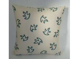 Cream & Green Leaves Design Scatter Cushion - 42cm x 42cm - COMPLETE WITH HOLLOW FIBRE FILLED INNER