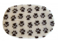 PnH Veterinary Bedding - NON SLIP - OVAL - Cream with Brown Paws